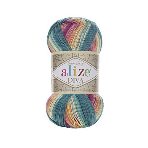 100% Microfiber Yarn Alize Diva Batik Silk Effect Thread Crochet Hand Knitting Turkish Yarn Art Lot of 4skn 400g 1532yd Color Gradient 4572
