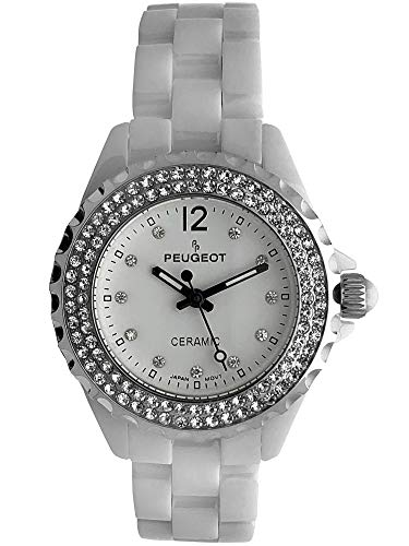 Peugeot Women Ceramic Wrist Watch with Crystal Bezel and Link Bracelet ()
