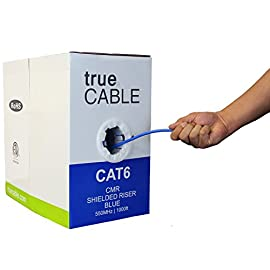 Cat6 Shielded Riser (CMR), 1000ft, Blue, 23AWG Solid Bare Copper, 550MHz, ETL Listed, Overall Foil Shield (FTP), Bulk Ethernet Cable, trueCABLE 80 HIGH PERFORMANCE NETWORK CABLE. This riser rated cat 6 lan cable is 23 AWG with 4 pairs (8C). The overall aluminum (AL) foil shield helps eliminate cross-talk and outside interference. Suitable for Fast, Gigabit, and 10-Gigabit Ethernet. Supports bandwidth of up to 550 MHz. HASSLE FREE PACKAGING. 1000 feet (305 meters) of our trueCABLE product has been packaged in a tangle free, easy pull box so you don't have to worry about getting behind on your next job. 100% SOLID BARE COPPER CONDUCTORS. Pure bare copper produces a stronger signal along with better conductivity and flexibility when compared to copper clad aluminum (CCA).