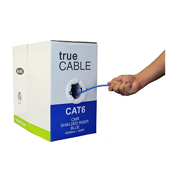 trueCABLE Cat6 Shielded Riser (CMR), 1000ft, Blue, 23AWG Solid Bare Copper, 550MHz, ETL Listed, Overall Foil Shield (FTP), Bulk Ethernet Cable 1 HIGH PERFORMANCE NETWORK CABLE. This riser rated cat 6 lan cable is 23 AWG with 4 pairs (8C). The overall aluminum (AL) foil shield helps eliminate cross-talk and outside interference. Suitable for Fast, Gigabit, and 10-Gigabit Ethernet. Supports bandwidth of up to 550 MHz. HASSLE FREE PACKAGING. 1000 feet (305 meters) of our trueCABLE product has been packaged in a tangle free, easy pull box so you don't have to worry about getting behind on your next job. 100% SOLID BARE COPPER CONDUCTORS. Pure bare copper produces a stronger signal along with better conductivity and flexibility when compared to copper clad aluminum (CCA).