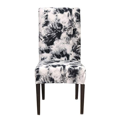 (Jacquard Stretch Removable Washable Short Dining Chair Covers Seat Floral Slipcover for Hotel,Dining Room,Ceremony,Banquet Wedding Party (Black))