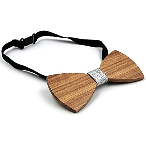 Michealboy Natural Wood Bow Ties Handcrafted Bowties with Gifts Box for men