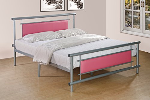 Furniture World Antoni Contemporary Upholstered Metal Bed, Q