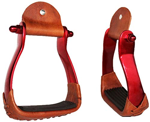 PRORIDER Horse Saddle Barrel Racing Aluminium Western Stirrups Tack Rodeo RED 5181RD