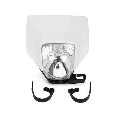 JFG RACING White Universal 12V / 35W / H4 Motorbike Halogen Headlight Head Lamp Light Fairing Street Fighter Mask For Husqvarna Motocross Enduro Supermoto: Automotive