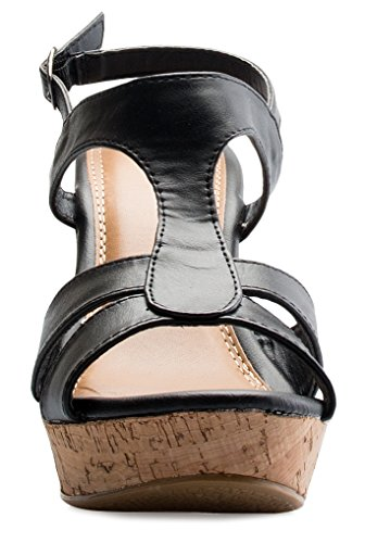 19689cee5a31 OLIVIA K Women's Open Toe T-Straps Strappy High Wedge Heel Wood Decoration Buckle  Shoes