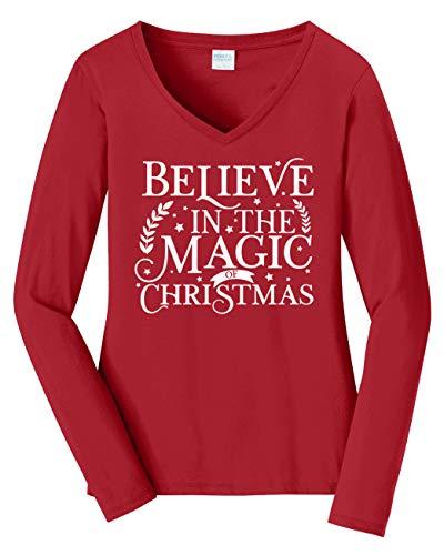 Tenacitee Women's Believe in The Magic of Christmas Block Long Sleeve V Neck T-Shirt, Medium, Cardinal Red from Tenacitee
