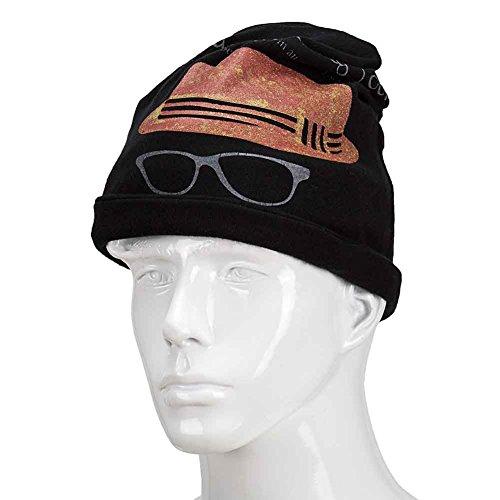 Orgrim Fashion Winter Classic Flower Print Beanie Ski Hat Neck Warmer 2 in 1 Hat Neck Wrap Cap (black)