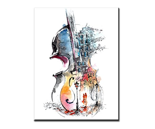 Abstract Canvas Painting Guitar Design Prints Modern Music Wall Art