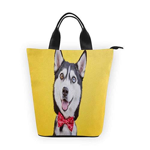 InterestPrint Nylon Cylinder Lunch Bag Funny Husky Breed Dog Tote Lunchbox Handbag