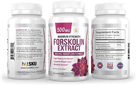 PREMIUM FORSKOLIN EXTRACT, 500mg - 60 Capsules w/ 20% Standardized Forskolin, Non-GMO & Gluten Free, Appetite Suppressant, MAX Strength Belly Fat Burner, Carb Blocker, Weight Loss Supplement. USA Made 7