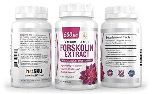 PREMIUM FORSKOLIN EXTRACT, 500mg – 60 Capsules w/ 20% Standardized Forskolin, Non-GMO & Gluten Free, Appetite…