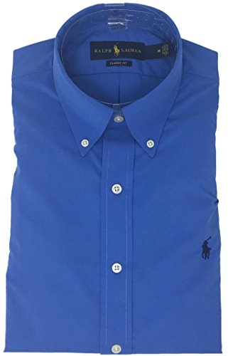 Ralph Lauren Polo Men's Performance Twill Button-Down Shirt (L, Aerial Blue)