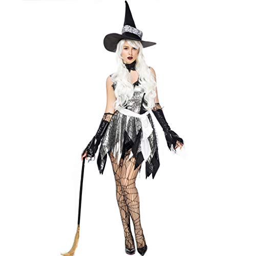 KLFGJ Women 3pc Halloween Hat and Cape and Skirt Sexy Cloak Dress Suit Cosplay Clothes Festival Black