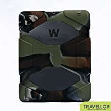 iPad 2, iPad 3, iPad 4 Case, Travellor® [Shockproof] [Heavy Duty] [Military] Extreme Tough & Drop Resistance Soft Silicone Case with Kickstand for Apple iPad 2/3/4. (Whistle + Stylus Pen + Carabiner) (Army-Black)