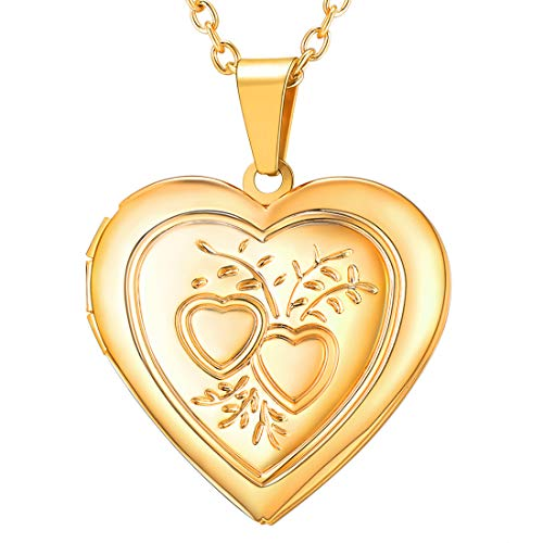 (U7 Charm Necklace Flower/Cross Pattern Platinum/Rose Gold/18K Gold Plated Locket Pendant with 22 Inches Chain, 4 Styles (E. Gold Heart & Heart) )