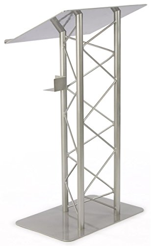 Lectern Stand Speaker (Displays2go Truss Lectern for Speaker, 27 x 48 x 18.5 Inches, Includes Cup Holder, Silver Podium Stand - Aluminum and Steel Construction (LCTTRSSLV))