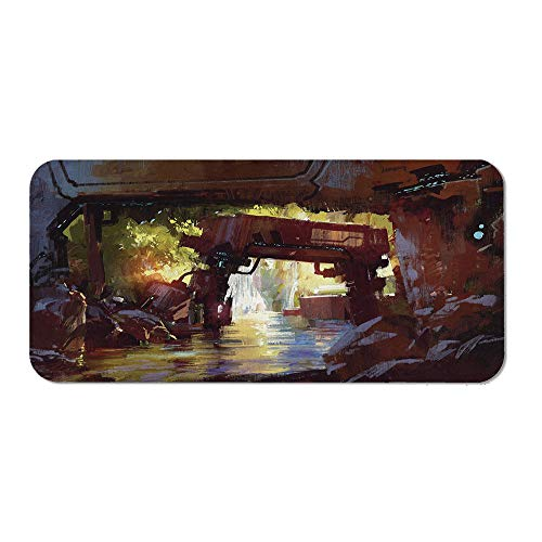 (Industrial Decor Non Slip Mouse Pad,Watercolor Artwork Futuristic Forest Old Machine in Deep Woods Waterfall Decorative for Laptop Computer &)