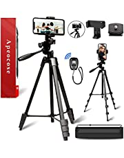 Apeocose 55'' Phone Tripod with Remote & Quick Release Plate, Lightweight Camera Tripod for iPhone, 360 Degree Rotatable Phone Mount and Wireless Bluetooth Shutter, Cell Phone Tripod for iOS & Android