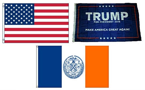 ALBATROS 3 ft x 5 ft Trump #1 with USA American with City of New York Set Flag for Home and Parades, Official Party, All Weather Indoors Outdoors