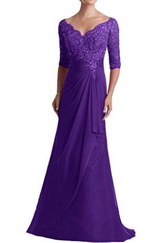 Promkleider mia Blau Spitze Dunkel La Braut Glamour mit Abendkleider Abiballkleider V Lila Langarm Ausschnitt Ballkleider PUqttwd