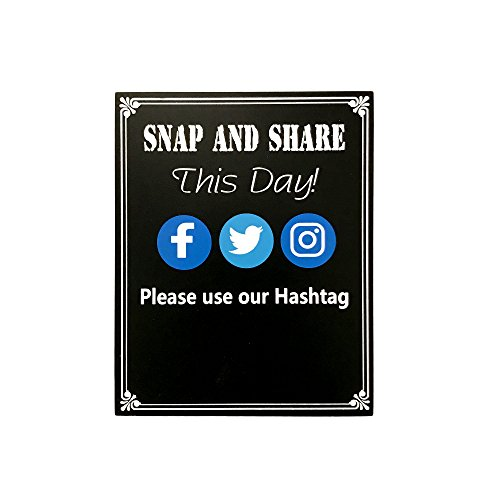 JennyGems - Snap And Share This Day Use Our Hashtag - Hashtag Sign - Media Sign - Wedding Chalkboard Ceremony Receptions Signs - Birthday Anniversaries Graduation Party Special Event- Positive -