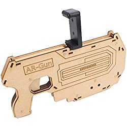 Cell Phone AR Smart Games Handle Controller Wooden Game Controller Bluetooth Wireless Remote Controller Compatible with IOS and Android Smart Phones