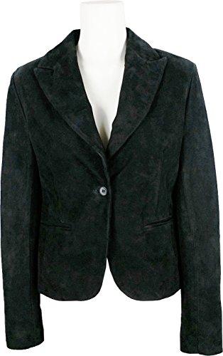 UNICORN Femmes Classique Costume Blazer Veste - Réal Cuir Veste - Noir Suede #9U