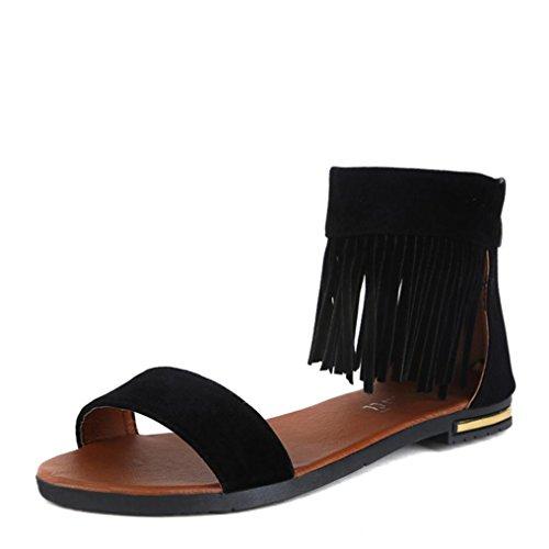 Femmes Chaussures,OverDose ÉTé Des Sandales Appartement Mode Des Sandales Confortable Dames Chaussures Noir