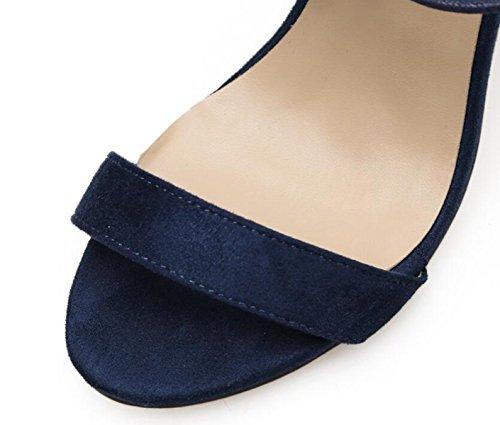 LINYI Tacones De Aguja De Las Mujeres Cruzadas Correas Punta Abierta Partido De La Correa Del Tobillo Zapatos Casuales Todos Los Días Blue