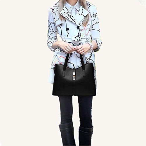SIFINI Women Fashion PU Leather Handbag+Shoulder Bag+Purse+Card Holder 4pcs Set Tote (black) by SIFINI (Image #6)