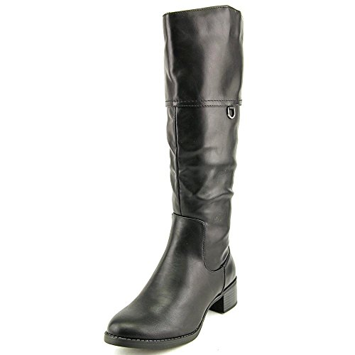 Boot Platform Shaft - Easy Street Scotsdale Womens Size 5.5 Black Faux Leather Fashion Knee-High Boots