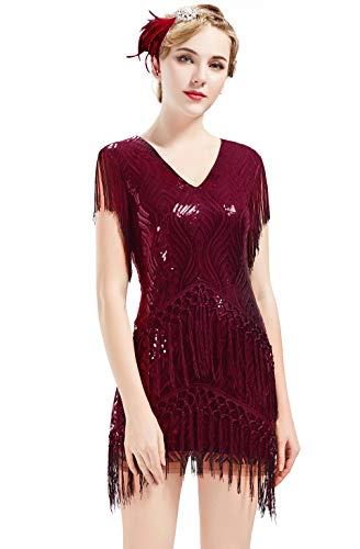 BABEYOND 1920s Flapper Dress Long Fringed Gatsby Dress Roaring 20s Sequins Beaded Dress Vintage Art Deco Dress (Wine Red, L) (Roaring 20s Dress)