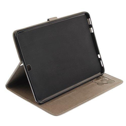 JIALUN-Personality teléfono shell Para Samsung Galaxy Tab S2 9.7 pulgadas T810 T815 Funda de la caja, Horizontal Flip Folio Funda de la cartera Funda de cuero premium de la PU con relieve Textura y 4  Gray