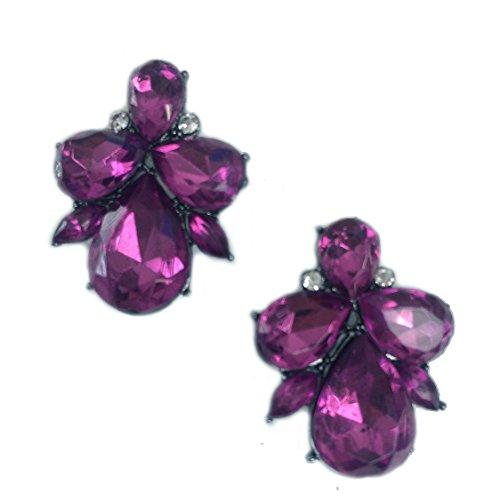 Art Deco Antique Vintage Style Pink Purple Fuchsia Ruby Amethyst Rhinestone Bridal Bridesmaid Wedding Prom Cluster Earrings