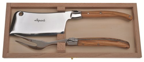 Jean Dubost 2 Piece Olive Wood Cheese Set in a Clasp Box, Natural Wood by Jean Dubost