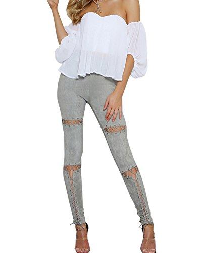 Pencil Mujer Slim Vaqueros Skinny Gris Agujero Pantalones Rotos Pantalones UBnzxpCB