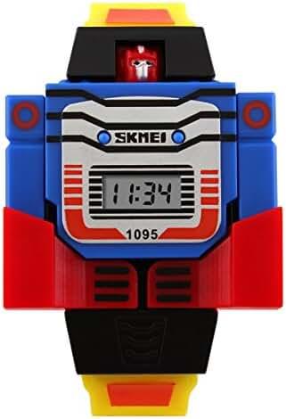 Unisex Cartoon 3D Robot Watches Child's Watche Boys Girls Outdoor Sports Wristwatch- Yellow