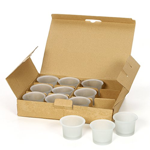 """Hosley's Set of 12 Frosted White Oyster Cup Glass Tea Light Holders - 2.5"""" Diameter. Ideal for Parties, Weddings, Events, Aromatherapy, Spa, Reiki, Bridal Votive and Tea light gardens"""