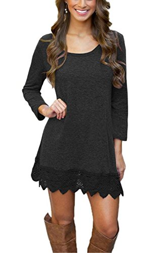 MiYang Women's Long Sleeve A-line Lace Stitching Trim Casual Dress 2XL Black