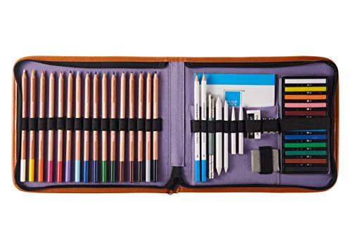 COLOUR BLOCK 40 Piece Drawing Travel Art Set in a Canvas Zippered Case, with 16 Colored Pencils, 12 Soft Pastels, Sketching Pencils, Drawing Pad, and Assorted ()