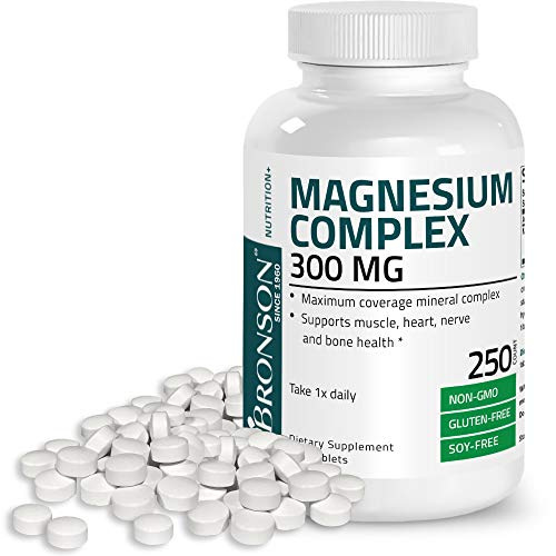 Triple Magnesium Complex Maximum Coverage 300 Mg Magnesium Oxide Magnesium Citrate Magnesium Carbonate, Non-GMO, Gluten Free and Soy Free Formula, 250 Tablets