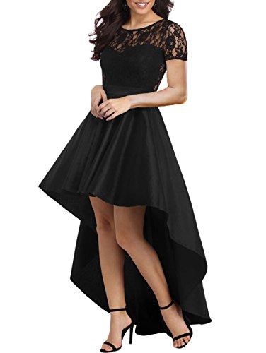 Women Formal Evening Dresses Lace Bodice Hi-Low Prom Party Night Dress Black ()