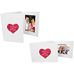 Valentine's Heart Red foil design on White Cardboard Photo folder frame Our price is for 25 units - 4x6
