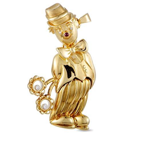 (Chopard(Est) Chopard Vintage 18K Yellow Gold Diamond and Gemstone Clown Brooch Pendant)