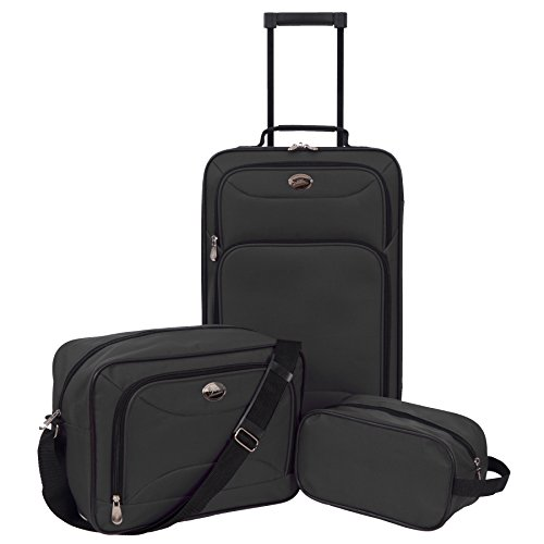 Jetstream 3 Piece Luggage Set with Toiletry Kit Black
