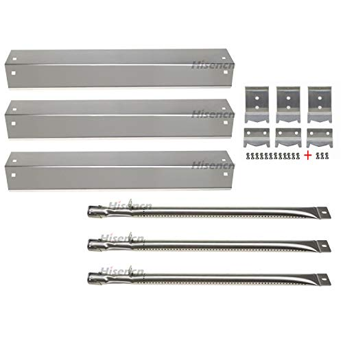 Hisencn Replacement Stainless Steel Burner, Heat Plate, Hanger Brackets for Chargriller 3001, 3008, 3030, 4000, 5050 Gas Grill Repair kit ()