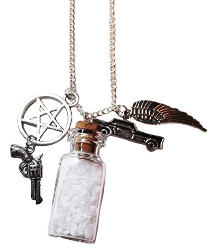 Supernatural Salt Bottle Protection CHARMS NECKLACE on 24 Inch Chain