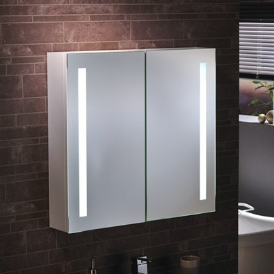 'Como' - LED Bathroom LED Mirror Cabinet Illuminated Mirror - H60cm x W65cm - FREE NEXT DAY DELIVERY SALE RRP £279.99