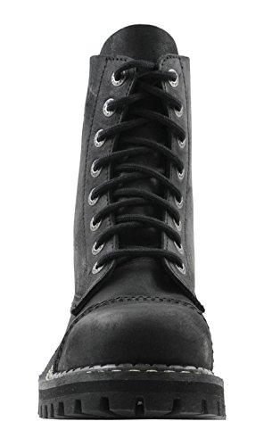 ANGRY ITCH 8-Loch Vintage Schwarz Gothic Punk Army Ranger Armee Leder Stiefel mit Stahlkappe, EU 36